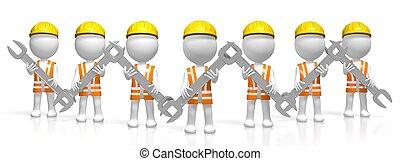 construção, 3d, equipe