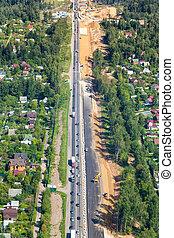 construção, acima, rodovia, vista
