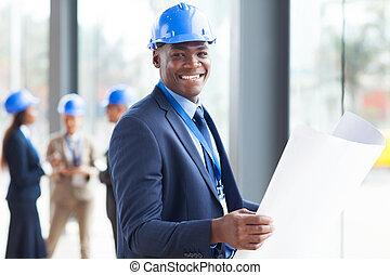 construção, africano, engenheiro