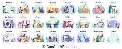 construção, architecting, predios, engenharia, set., profissão