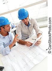 construção, arquitetos, trabalhando, plano