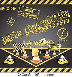 construção, aviso, sob