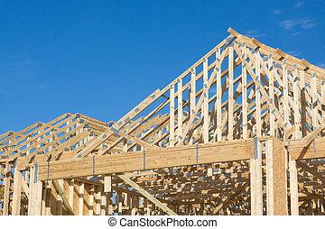 construção, bragueiro, telhado