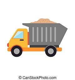 construção, caminhão, entulho