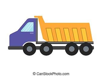 construção, caminhão, entulho, sob