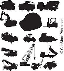construção, caminhões