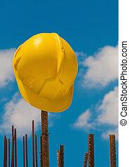 construção, capacete, ligado, aço, barras