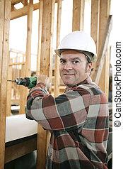 construção, carpinteiro, local