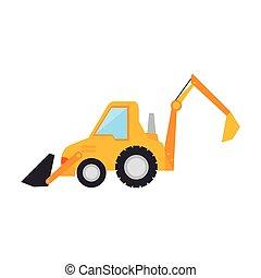 construção, carregador, caminhão, escavador