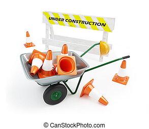construção, carrinho de mão, sob