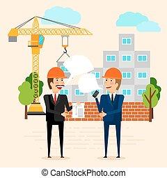 construção casa, discutir, construtores