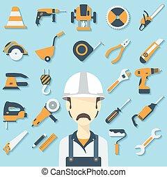 construção, conceito, com, apartamento, ícones, e, builder.,...
