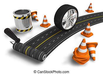 construção, conceito, estrada