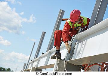 construção, construtor, millwright, trabalhador, local