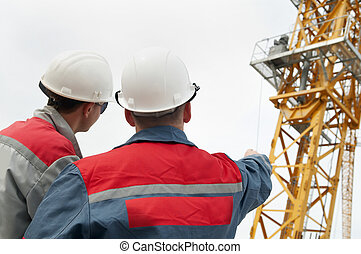 construção, construtores, local, dois