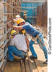 construção, construtores, posicionar, concreto, formwork, bordas