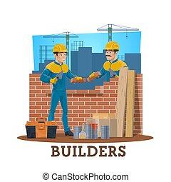 construção, construtores, trabalhadores, pedreiro, indústria