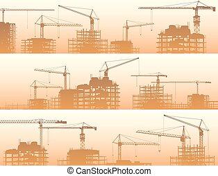construção, cranes., local