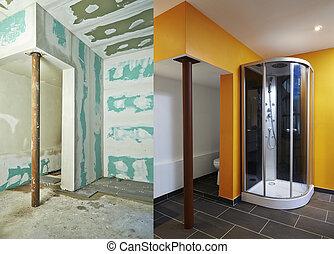 construção, de, drywall-plasterboard, banheiro