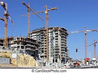construção, de, edifícios apartamento