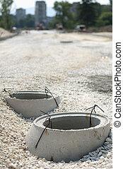 construção, de, sewerage