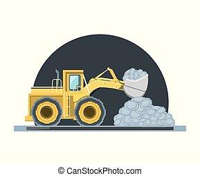construção, desenho, caminhões