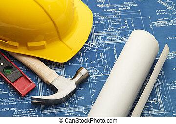 construção, desenhos técnicos