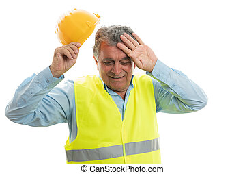 construção, desligado, trabalhador, capacete, levando