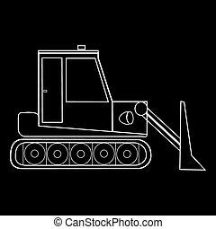 construção, dozer, trator, estrada, maquinaria