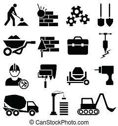 construção, e, maquinaria, ícones