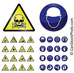 construção, e, perigo, sinais