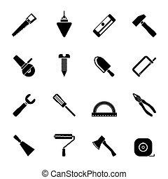 construção, e, predios, ícones