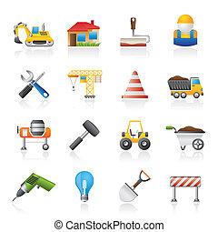construção edifício, ícones