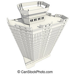 construção edifício, escritório, 3d
