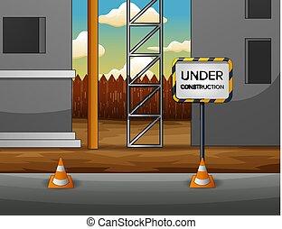 construção edifício, local, ilustração, sob
