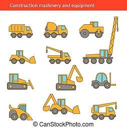 construção edifício, máquinas, machinery., icons., vetorial, linha, magra