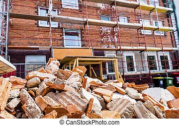 construção edifício, rubble, local