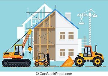 construção edifício, vetorial, guindaste, maquinaria