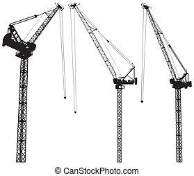 construção, elevando, guindaste