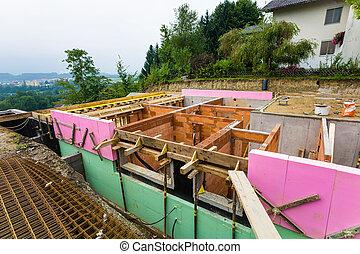 construção, em, sólido, tijolo, construção