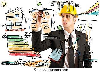 construção, engenheiro