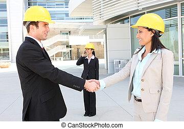 construção, equipe, hanshake