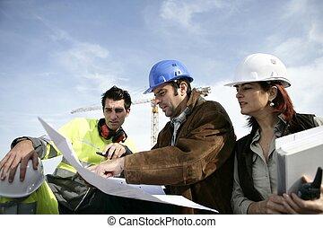 construção, equipe, ligado, local