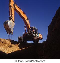 construção, escavação