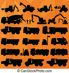 construção, escavador, caminhão, e, misturador concreto,...