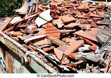 construção, escombros, em, um, local construção