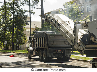 construção estrada, caminhão, local, entulho