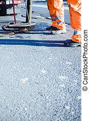 construção estrada, e, trabalhadores