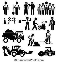 construção estrada, trabalhador