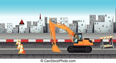 construção estrada, trabalhando, escavador